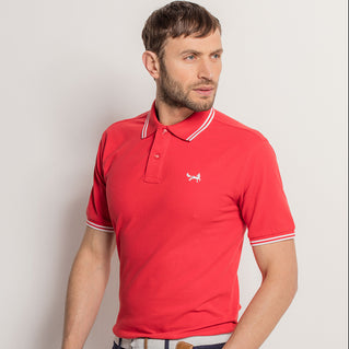 Men's Twin Tipped Piqué Polo Shirt In Red and White