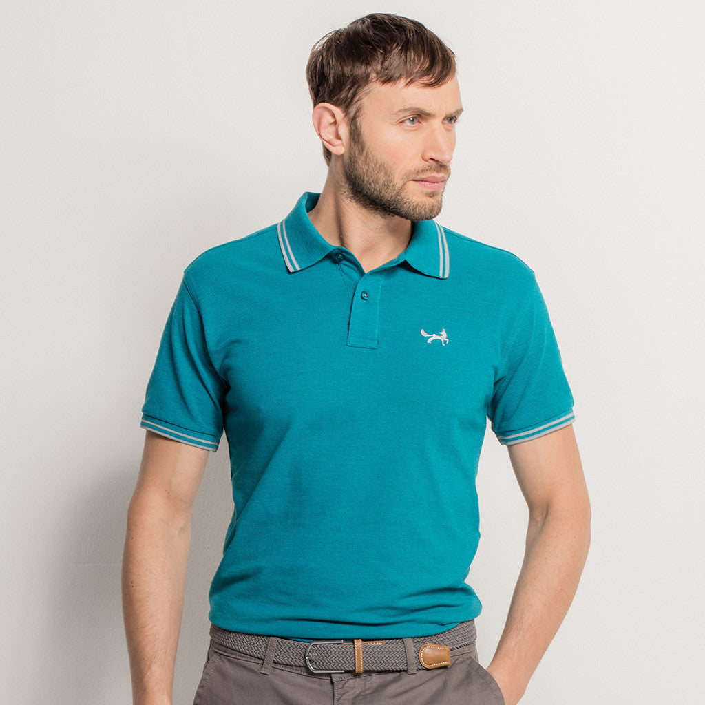 Asquith & Fox Men's Twin Tipped Piqué Polo Shirt In Teal and Grey Heather - Exclusive