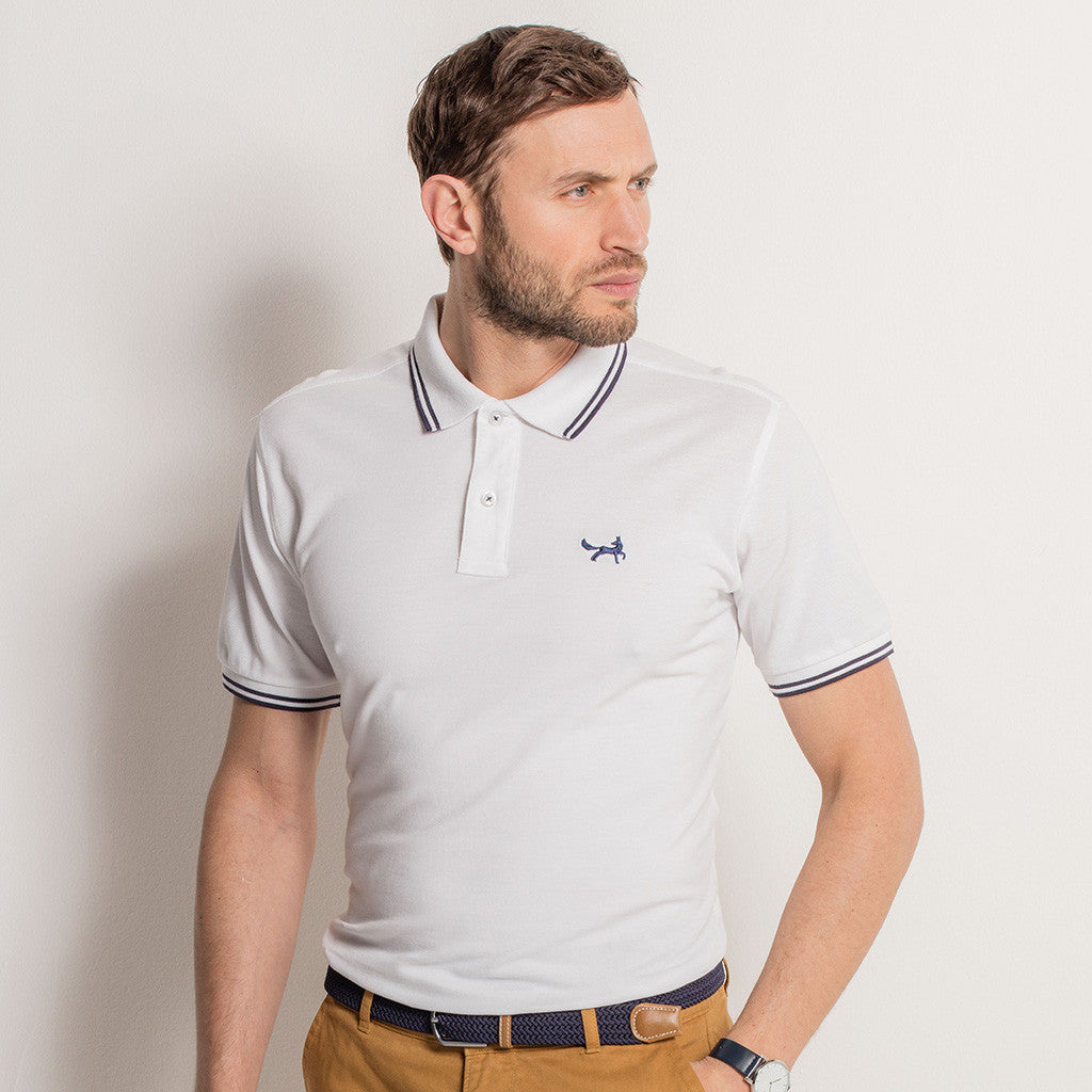 Men's Twin Tipped Piqué Polo Shirt In White and Navy