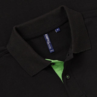 Men's Contrast Collar Piqué Polo Shirt In Black and Lime