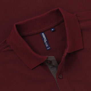 Men's Contrast Collar Piqué Polo Shirt In Burgundy and Charcoal