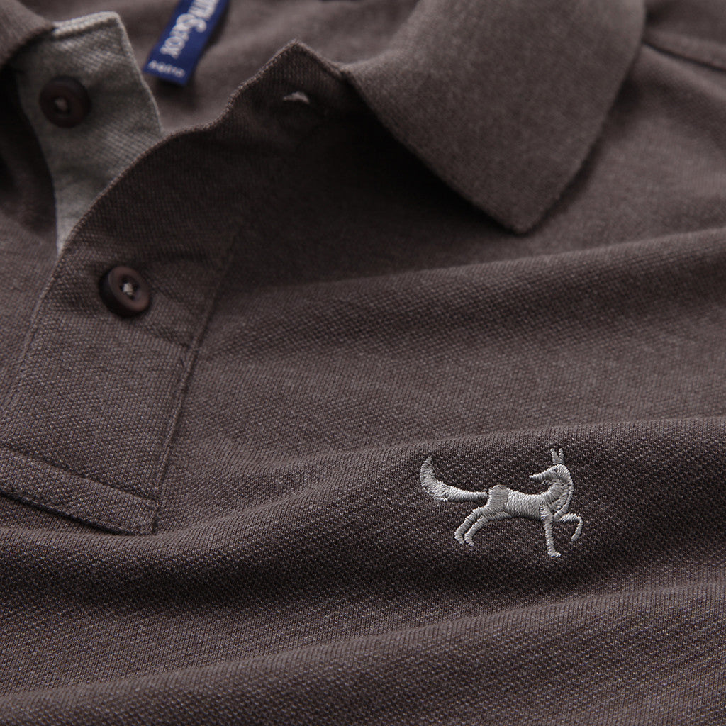 Men's Contrast Collar Piqué Polo Shirt In Charcoal and Heather Grey