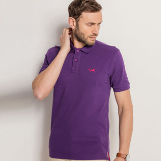 Men's Contrast Collar Piqué Polo Shirt In Purple and Pink