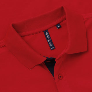 Men's Contrast Collar Piqué Polo Shirt In Red and Navy