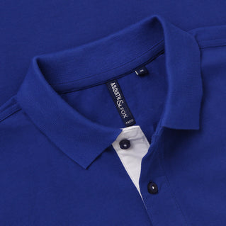 Men's Contrast Collar Piqué Polo Shirt In Royal and White