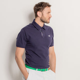 Men's Check Trim Piqué Polo Shirt In Navy