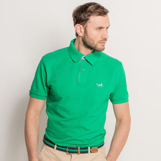 Cotton Polo With Oxford Insert In Kelly and Sky