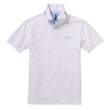 Cotton Polo With Oxford Insert In White and Sky
