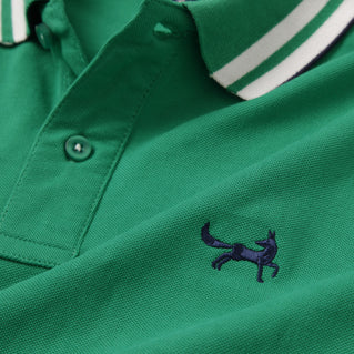 Retro Tipped Polo In Kelly, Navy and White