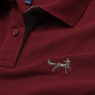 Asquith & Fox Womens Contrast Collar Polo In Burgundy and Charcoal