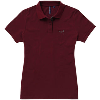Asquith   Fox Womens Contrast Collar Polo In Burgundy and Charcoal 0390922ec4