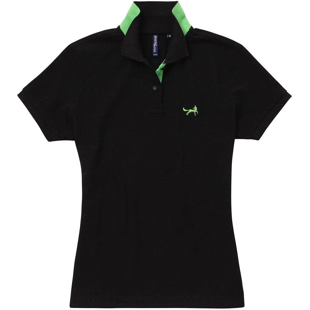 Asquith & Fox Womens Contrast Collar Polo In Black and Lime