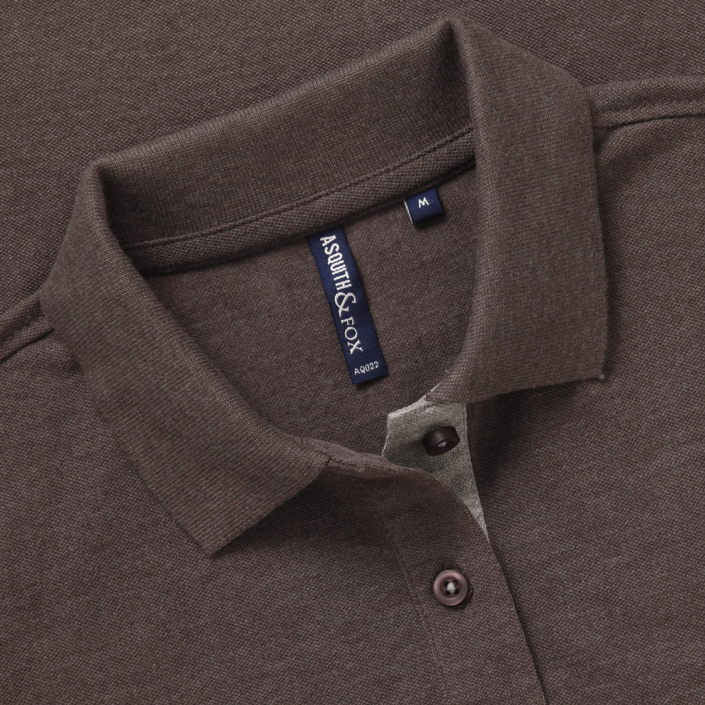 Asquith & Fox Womens Contrast Collar Polo In Charcoal and Heather Grey