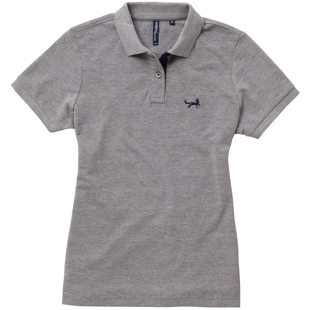 Asquith & Fox Womens Contrast Collar Polo In Heather Grey and Navy