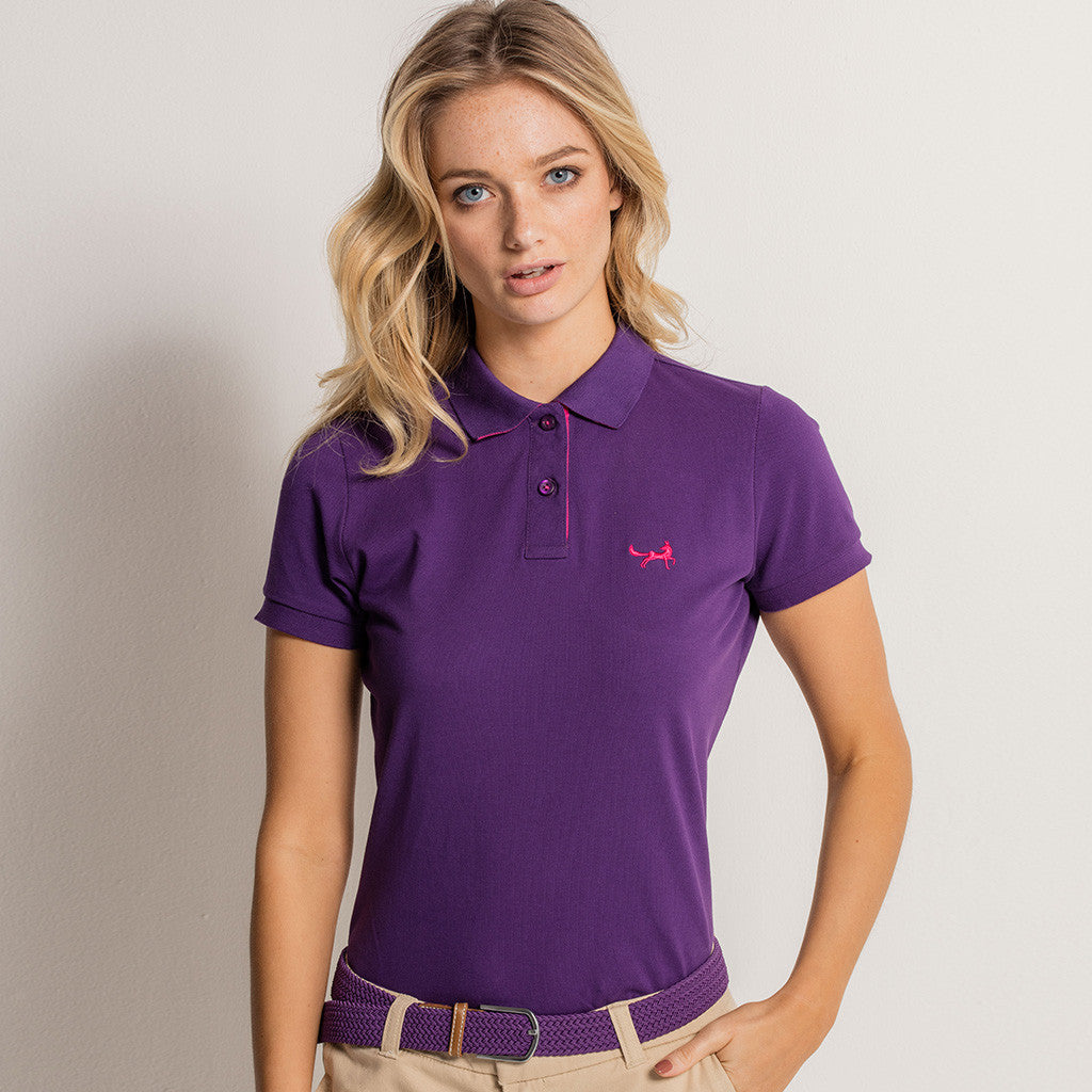Asquith Fox Womens Contrast Collar Polo In Purple And Pink