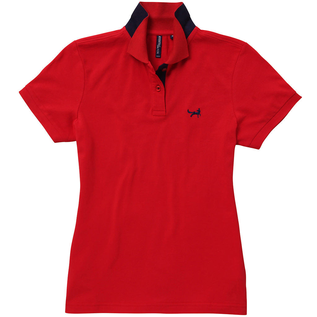 Asquith & Fox Womens Contrast Collar Polo In Red and Navy