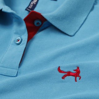 Asquith & Fox Womens Contrast Collar Polo In Turquoise and Red