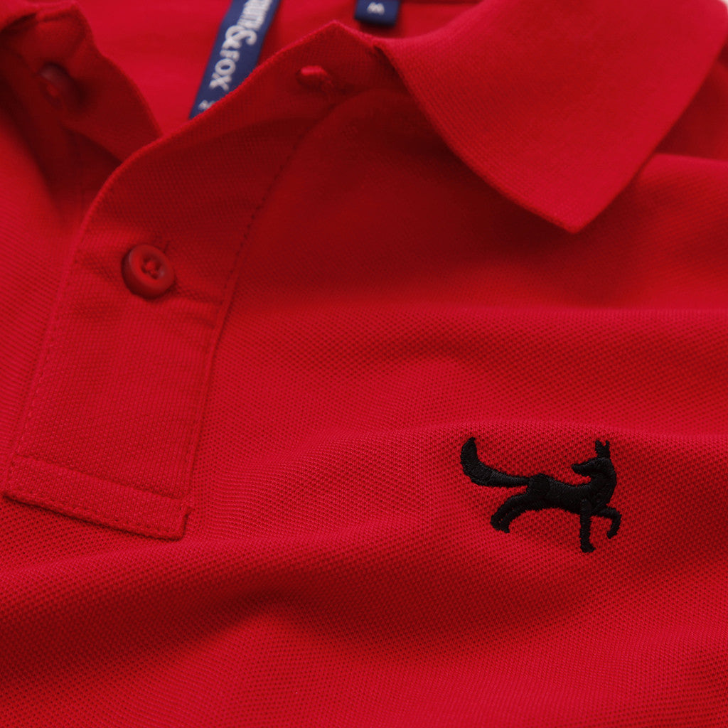 Men's Long Sleeved Piqué Polo Shirt In Classic Red