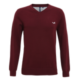 Asquith & Fox Men's Cotton Blend V-Neck Jumper In Burgundy