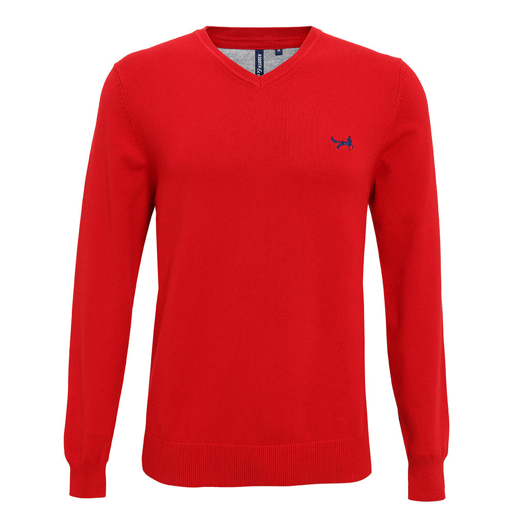 Asquith & Fox Men's Cotton Blend V-Neck Jumper In Cherry Red