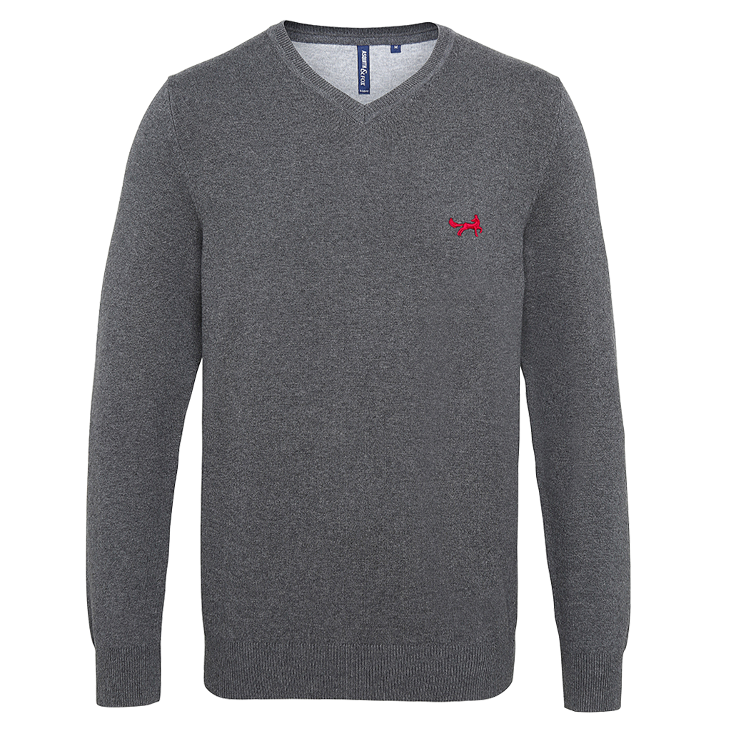 Asquith & Fox Men's Cotton Blend V-Neck Jumper In Charcoal