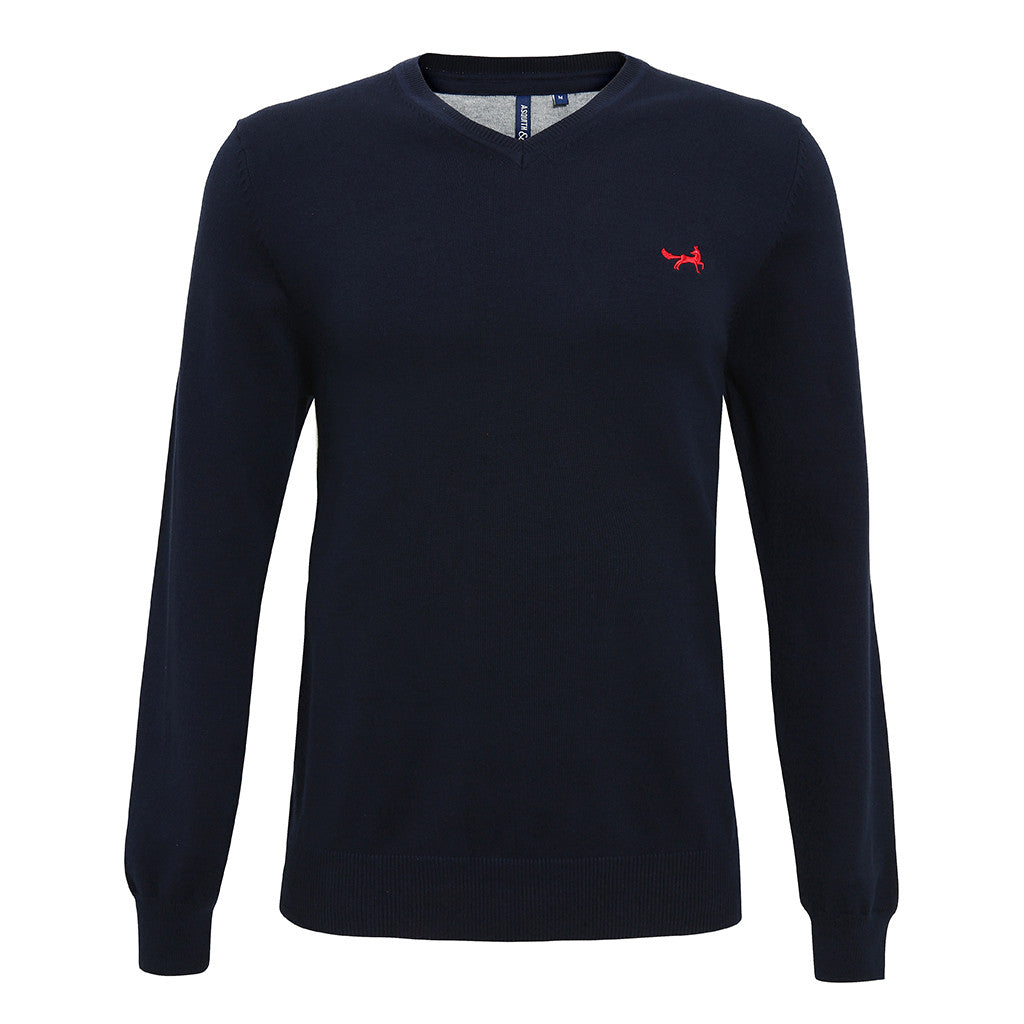 Asquith & Fox Men's Cotton Blend V-Neck Jumper In French Navy