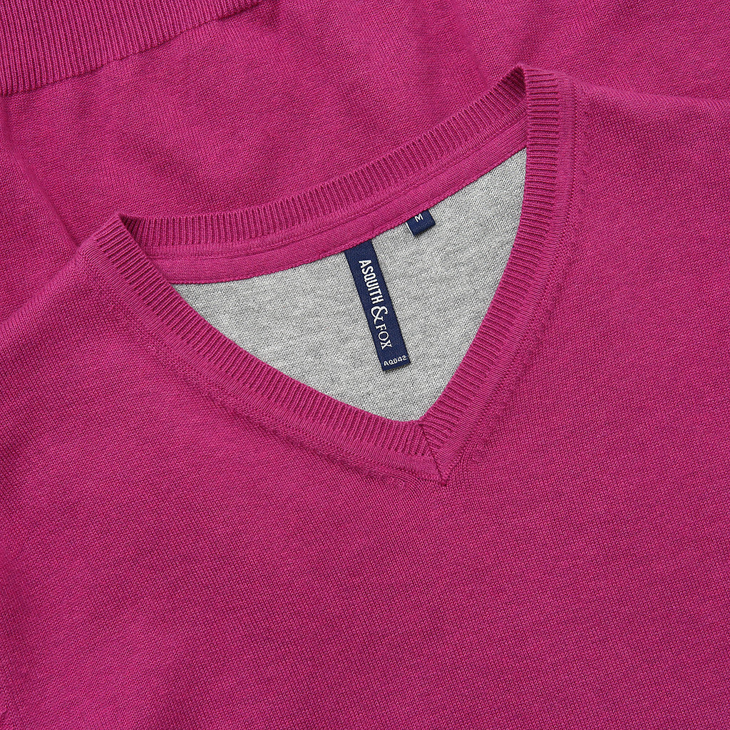 Asquith & Fox Men's Cotton Blend V-Neck Jumper In Orchid Heather