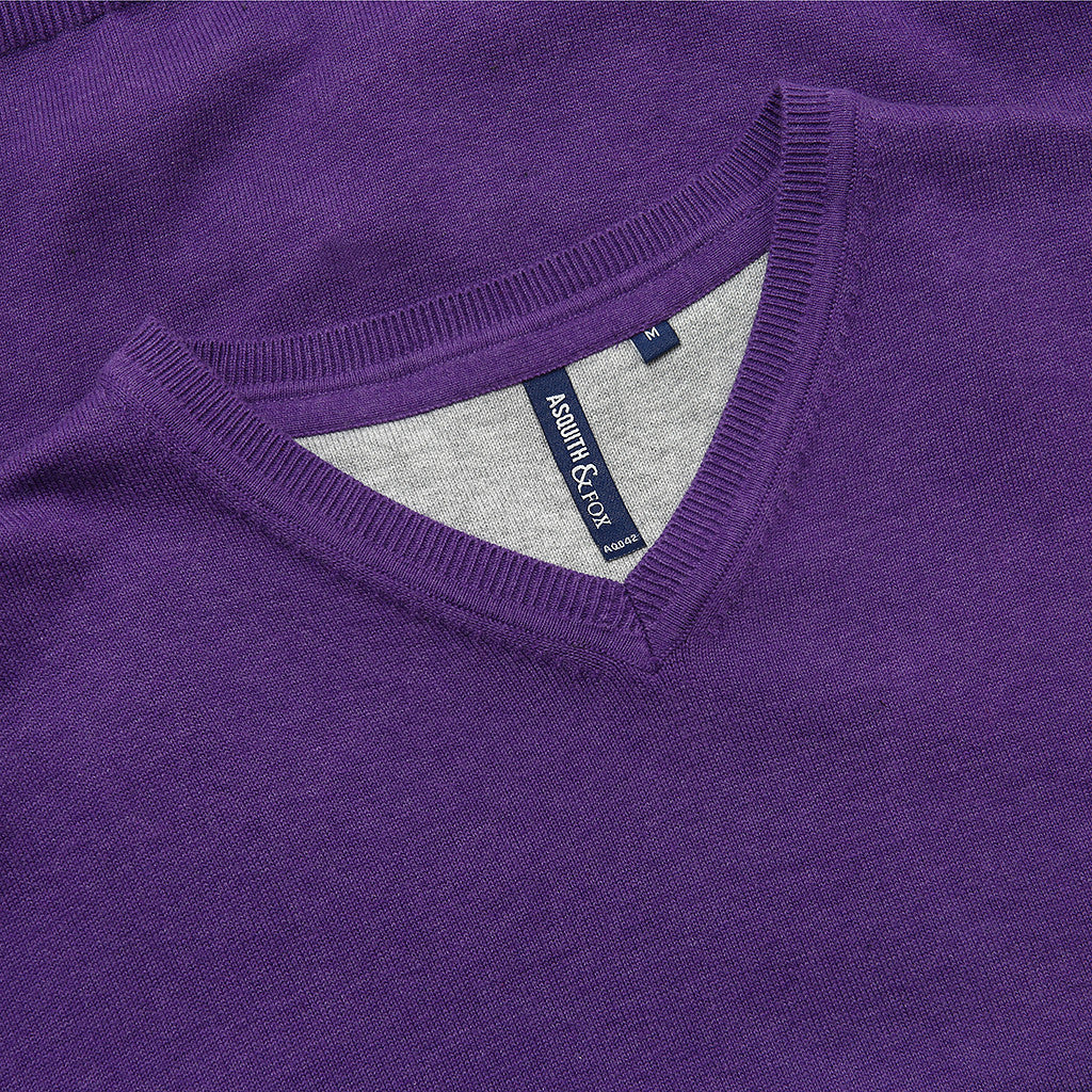 Asquith & Fox Men's Cotton Blend V-Neck Jumper In Purple Heather