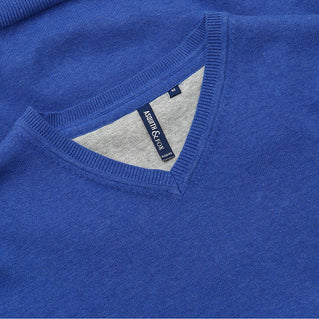 Asquith & Fox Men's Cotton Blend V-Neck Jumper In Royal Heather
