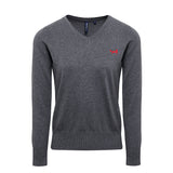 Asquith & Fox Women's Cotton Blend V-Neck Jumper in Charcoal