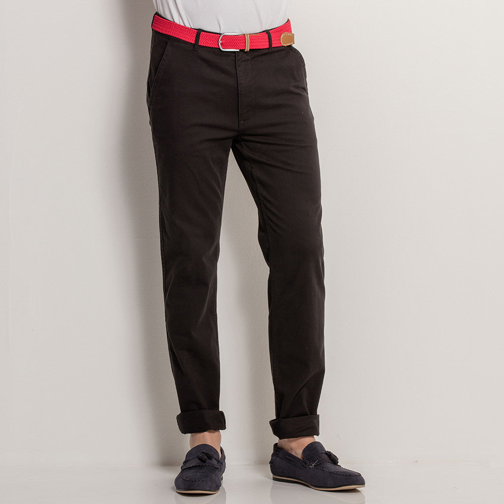Asquith & Fox Mens Slim Fit Cotton Chino In Black