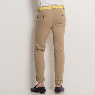 Asquith & Fox Mens Slim Fit Cotton Chino In Khaki
