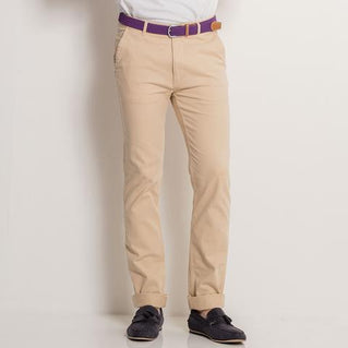 Asquith & Fox Mens Slim Fit Cotton Chino In Natural