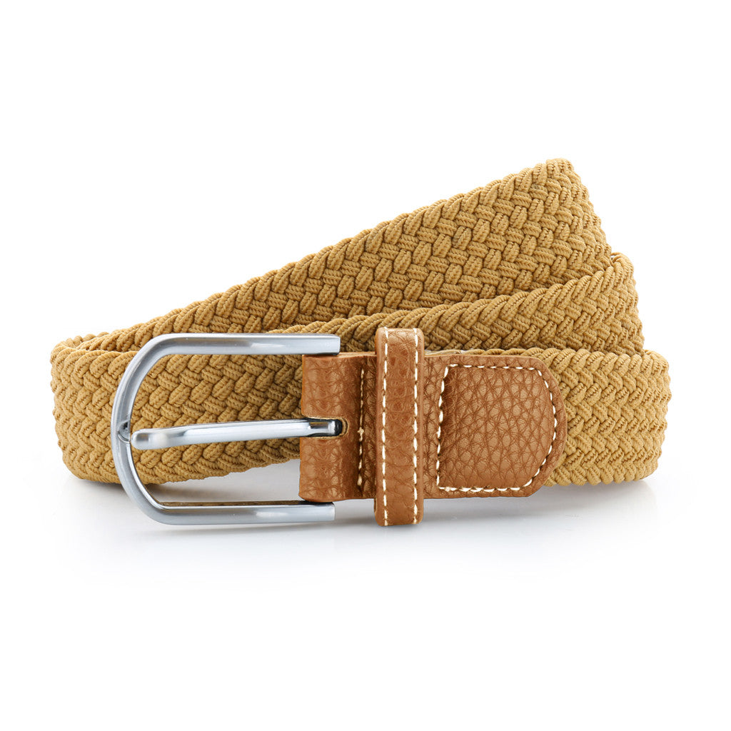 Asquith & Fox Unisex Woven Elasticated Belt In Camel