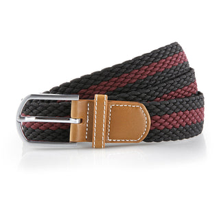 Asquith & Fox Striped Elasticated Woven Belt In Black and Burgundy