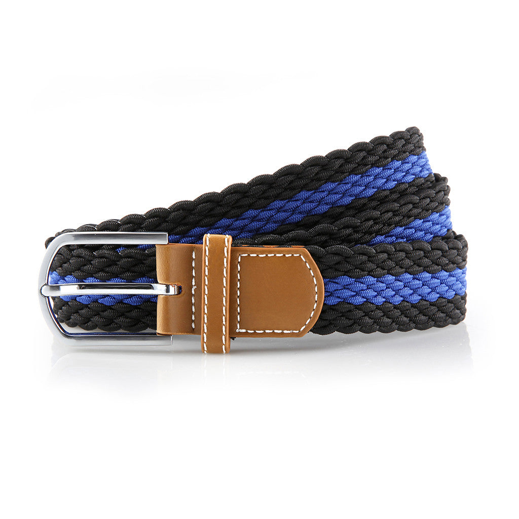 Asquith & Fox Striped Elasticated Woven Belt  In Black and Royal