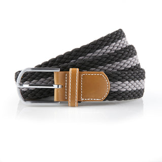 Asquith & Fox Striped Elasticated Woven Belt In Black and Slate