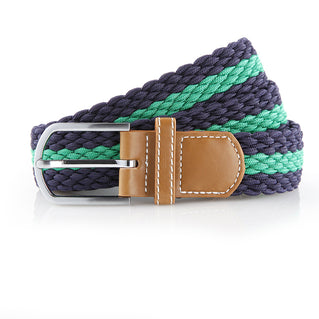 Asquith & Fox Striped Elasticated Woven Belt In Navy and Kelly