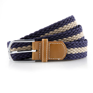 Asquith & Fox Striped Elasticated Woven Belt  In Navy and Khaki,