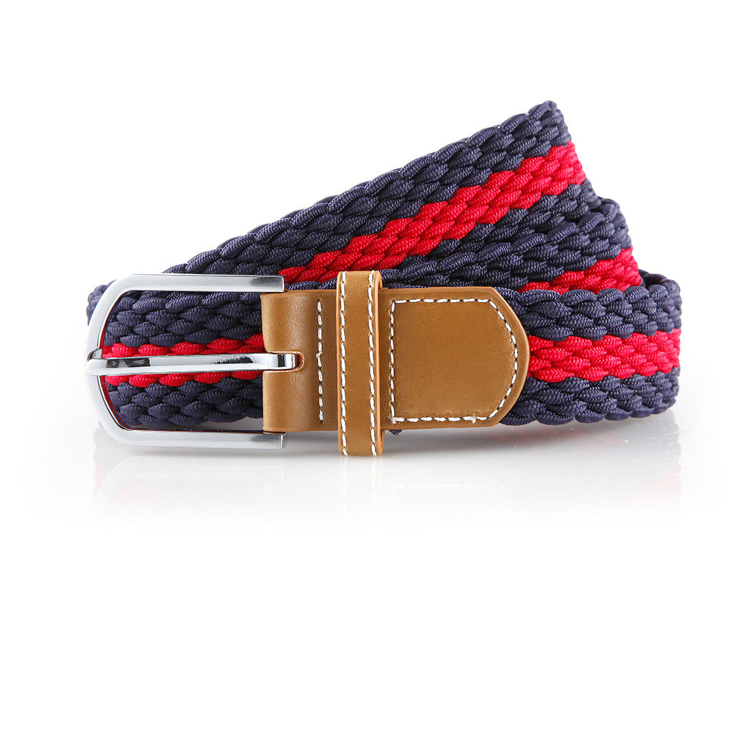 Asquith & Fox Striped Elasticated Woven Belt In Navy and Red
