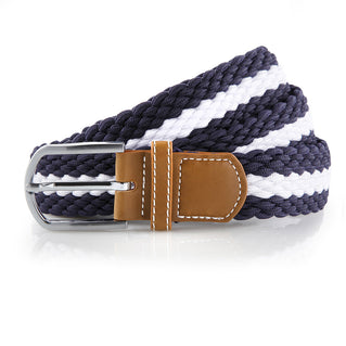 Asquith & Fox Striped Elasticated Woven Belt In Navy and White