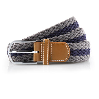 Asquith & Fox Striped Elasticated Woven Belt In Slate and Navy