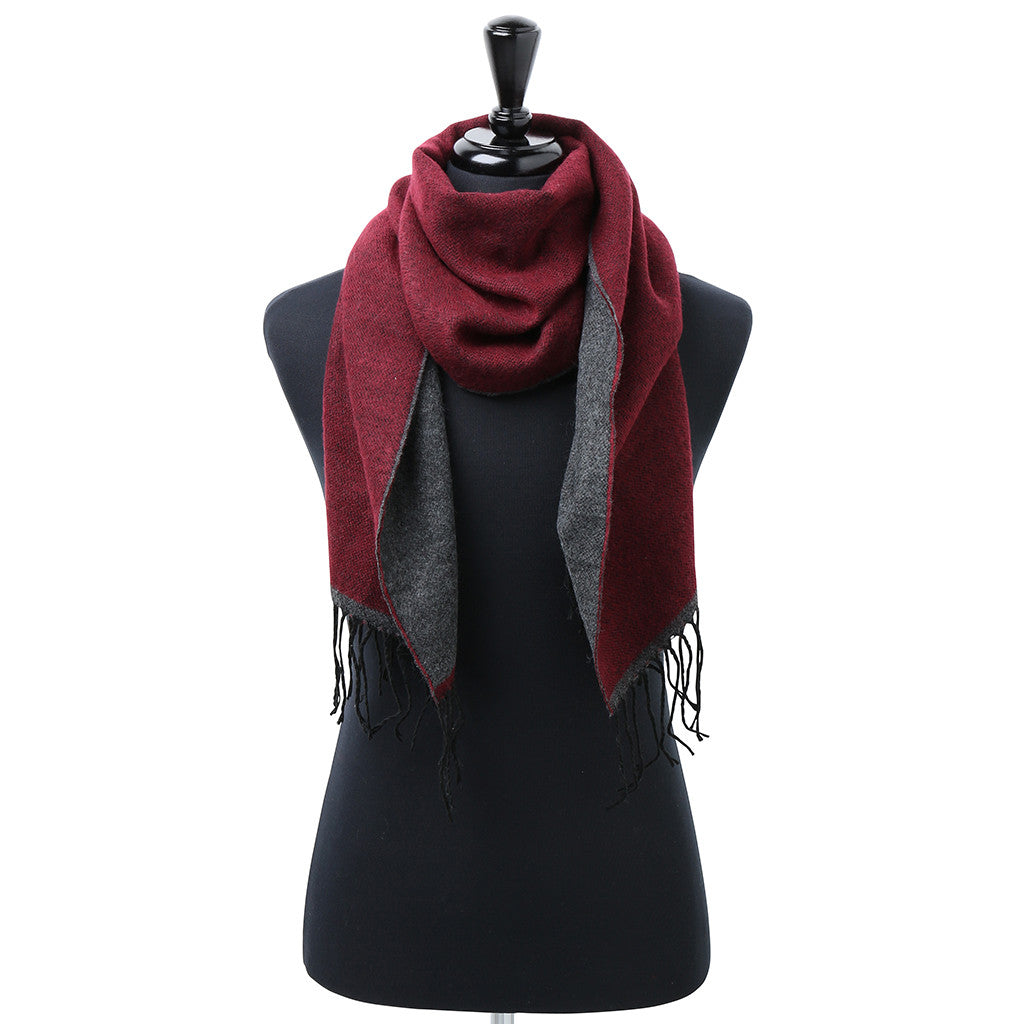 Asquith & Fox Unisex Two Tone Soft Feel Scarf In Burgundy