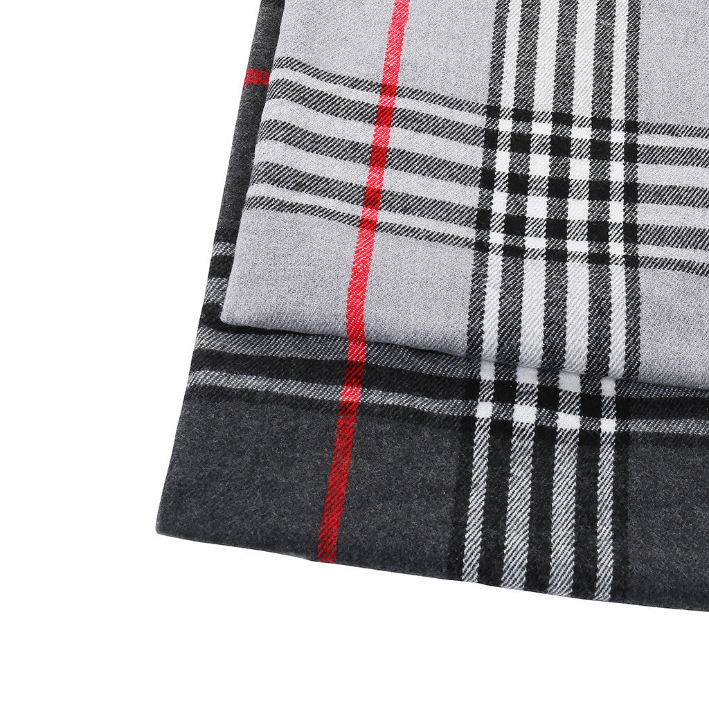 Asquith & Fox Unisex Check Soft Feel Scarf In Grey
