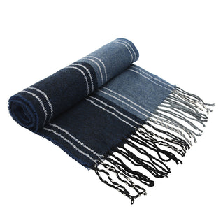 Asquith & Fox Unisex Stripe Soft Feel Scarf In Navy