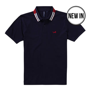 Retro Tipped Polo In Navy, Red and White