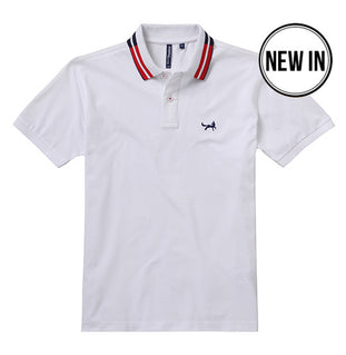 Retro Tipped Polo In White, Navy and Red
