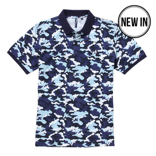 Men's Camo Pique Polo In Blue