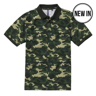 Men's Camo Pique Polo In Green