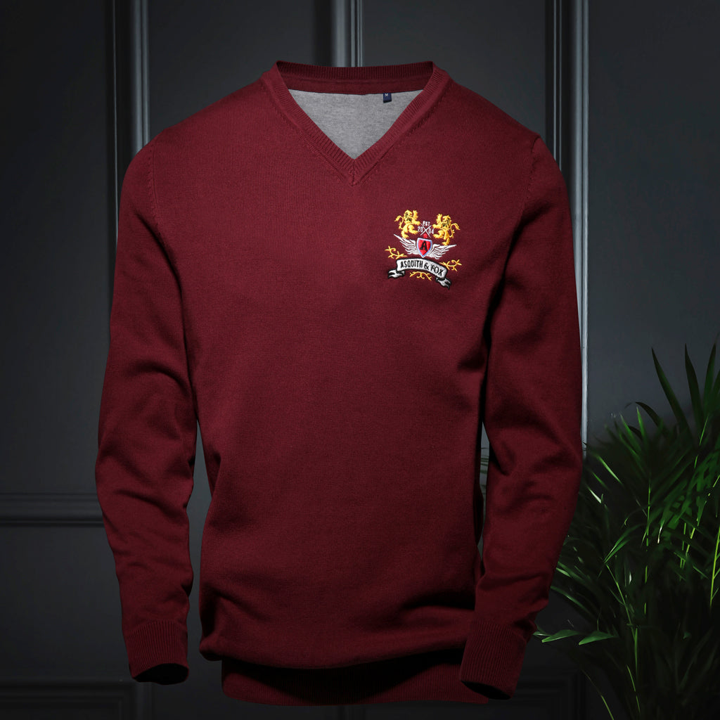 Men's V-Neck jumper in Burgundy - The Preppy Collection